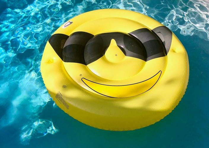 yellow floater in the pool