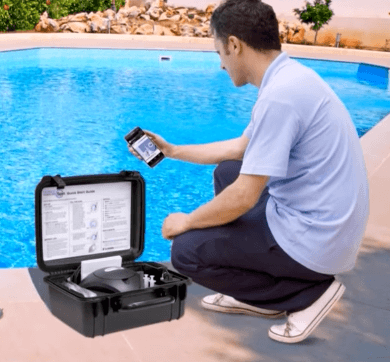 A man using a digital water tester
