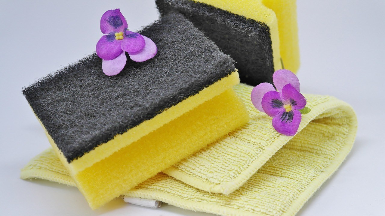 cleaning sponges and purple flowers