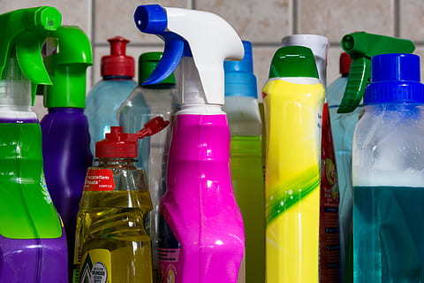 cleaning sprays and bottles